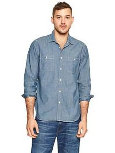 Iconic chambray worker shirt - Jeans Want this also. Think the model is cool to, and not typical.