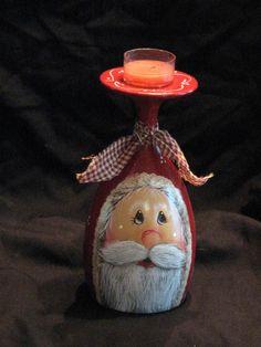 Santa candle holder vintage wine glass hand by KathysKountry