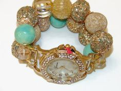Gold and Sea Foam Chunky Beaded Watch by BeadsnTime on Etsy