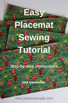 Easy Placemat Sewing Tutorial - JMB Handmade Dress up your table this holiday season by creating your own Christmas placemats with this easy sewing tutorial! Christmas Sewing Projects, Diy Sewing Projects, Sewing Projects For Beginners, Sewing Hacks, Sewing Tutorials, Sewing Crafts, Sewing Tips, Dress Tutorials, Christmas Sewing Patterns