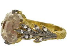 Rustic Diamond Leaf Side Ring