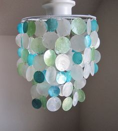 "Seaside Dreams 10"" Capiz Flushmount Chandelier MADE TO ORDER. $210.00, via Etsy."