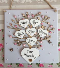 Personalised wooden family tree keepsake shabby Chic sign plaque Christmas Gift