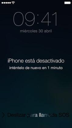 Mensaje de iPhone desactivado en la pantalla bloqueada