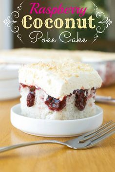 Raspberry Coconut Poke Cake | A baJillian Recipes