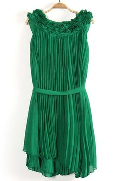 Green Sleeveless Drawstring Pleated Chiffon Dress - Sheinside.com #SheInside