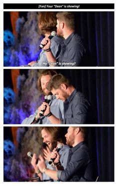 Supernatural his dean is showing lol Jensen Ackles, Jared And Jensen, Winchester Boys, Winchester Brothers, Supernatural Destiel, Supernatural Bunker, Supernatural Convention, Fandoms, Super Natural