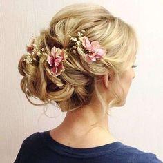 Romantic updo, formal hairstyles, bridesmaid hair with flowers, bridal hair Romantic Updo, Romantic Hairstyles, Bride Hairstyles, Pretty Hairstyles, Hairstyle Ideas, Formal Hairstyles, Flower Hairstyles, Hair Ideas, Bridesmaids Hairstyles