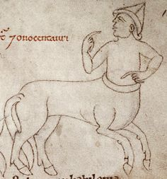 The onocentaur is a monstrous cross between an onager and a man. Bodleian Library, MS. Laud Misc. 247, Folio 147r