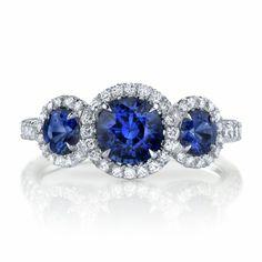 Omi Gems: Sapphire & Diamond 3-Stone Ring