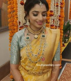 Diamond emerald layered long haram photo South Indian Jewellery, Indian Jewellery Design, Jewelry Design, Marriage Jewellery, Bridal Silk Saree, Yellow Saree, South Indian Bride, Banarasi Sarees, Green Blouse