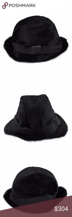 Gucci Black Pony Hair & Fur Hat (39835) This Gucci hat shows some creasing from storage and discoloration on the interior headband. •Type: Hat •Material: Pony Hair/Fur •Origin: Italy •Color: Black •Odor: None •Weight: 0.30375 lbs •Hat Size: L •Circumference: 21 •Production Code: None •Lining Material: Linen •Lining Color: Black •Height: 6.5 •Diameter Top: 19 •Diameter Inside: 7.25 •Depth: 5.5 •Brim: 1.5 Gucci Accessories Hats