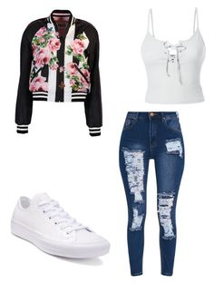 """Dressing like a snack "" by jay-love12 on Polyvore featuring Dolce&Gabbana, LE3NO and Converse"