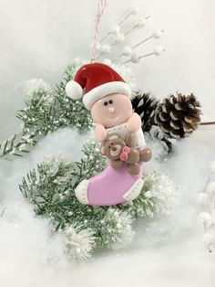 Handmade Baby's First Christmas Ornament, Personalized Ornament, Baby Ornament, Christmas Ornament, Girl Ornament, Polymer Clay Ornament by WeeBitCuckoo on Etsy https://www.etsy.com/listing/491782357/handmade-babys-first-christmas-ornament