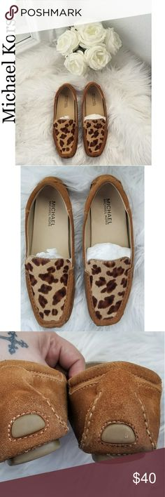 ***Price Drop***MK Leather  Haircalf Mocassins Good condition other than the water stains shown on pics on the inside and bottom which can't be seen when on. Please see all pics before purchasing. Michael Kors Shoes Moccasins