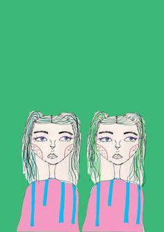Green hair girls