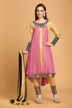 Pink and yellow Viscose, ready to wear anarkali suit. Neck embroidered with resham work.  Boat neck, Below knee length, quarter sleeves kameez, with georgette jacket.   Yellow brocade cigarette pant.   Black net dupatta with lace border with work.  It is perfect for party, wedding, festival and ceremonial wear.  Andaaz Fashion is the most popular designer wear online ethnic shop brands in US NEW BRUNSWICK.  http://www.andaazfashion.us/salwar-kameez/trouser-suits/view/new-arrival-trouser-suit