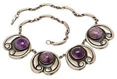 Mexican Silver Amethyst Necklace on OneKingsLane.com    Vintage 1910-1950  Excellent condition.