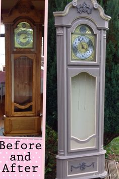 Annie Sloan Chalk Paint in French linen and Old Ochre. Updated Grandfather clock with added Appliqué / Moulding from www. Furniture Update, Diy Furniture Projects, Recycled Furniture, Furniture Makeover, Chalk Paint Projects, Chalk Paint Furniture, Hand Painted Furniture, Furniture Refinishing, Hall Painting
