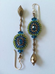 Blue, Green & Bronze Oval Earrings by Jeka Lambert.  Seed bead woven.  Glass beads, seed beads.