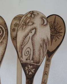 Pyrographed Wooden Spoon Moon Gazing Hare by Touchwoodcraft, $12.00