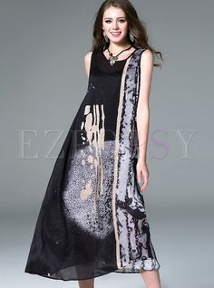 Shop for high quality Loose Asymmetric Sleeveless Ink Print Maxi Dress online at cheap prices and discover fashion at Ezpopsy.com