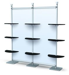 Free-Standing Display with shelving and background available to add graphics.