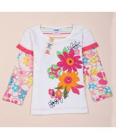 O-Neck Patchwork Long Sleeve Floral Print Cotton Made Girls T Shirts