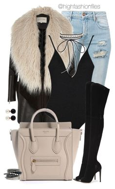 """Black Lights"" by highfashionfiles ❤ liked on Polyvore featuring Off-White, River Island, Aqua, Gianvito Rossi, Kenneth Jay Lane and H&M"