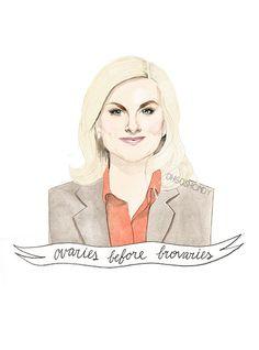 Leslie Knope watercolour portrait PRINT Amy Poehler ''Ovaries before brovaries''