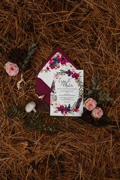 Jewel toned floral wedding invite