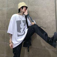 Ulzzang Fashion, Tomboy Fashion, Harajuku Fashion, Streetwear Fashion, Edgy Outfits, Cool Outfits, Fashion Outfits, Japanese Fashion, Asian Fashion