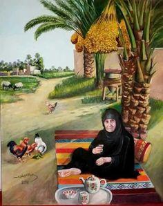 by Iraq Palestine Art, Composition Painting, Arabian Art, Art Village, Islamic Paintings, Egypt Art, Art Drawings For Kids, Portrait Art, Portraits