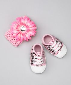 Take a look at this Pink Sparkle Sneaker & Headband by Haute Tot by Lisa Mirabelli on #zulily today!