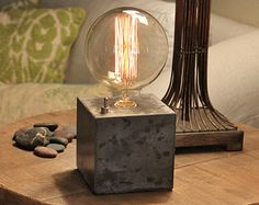 Concrete cube desk lamp Edison Lamp by ConcreteShopWest on Etsy