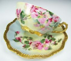 BEAUTIFUL LIMOGES HAND PAINTED ROSES TEA CUP & SAUCER TEACUP SIGNED POLE