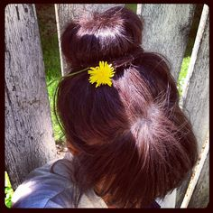 you bet your buns #buns#hair#howto#instastyle#longhair#bighair#spring#nature#friday#happiness#donutbun#donuts#weeds#flowers#backyard#portland#pdx#danielascrima#badmood