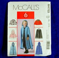 McCall's 4703 Girl's Historical Style Cape Size 2-5 NEW