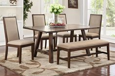 "6 pc Clive collection distressed antique dark wood finish dining table set with bench.  Table measures 40"" x 72"" x 30"" H.  Chairs measure 20"" x 25"" x 40"" H.   Bench measures 54"" x 17"" x 18"" H.  Some assembly required."