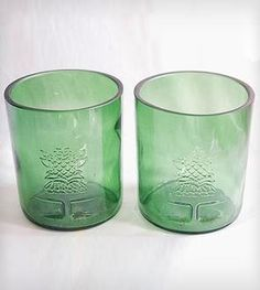 Upcycled Green Glass Tumblers - Set of 2