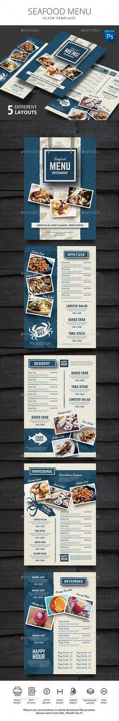 Seafood Restauran Menu Design Template - Food Menus Print Template PSD Template. Download here: ...