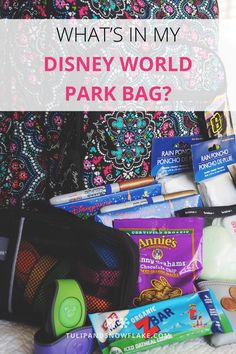 What's in our park bag? A few essentials always make a Disney park day more enjoyable and can even save a day from turning, well, un-magical! Our daily Disney park bag is filled only with essentials. I want the bag to be as light as possible and don't want to be carrying around any