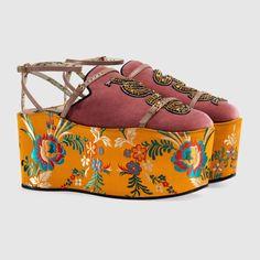 Velvet slipper with removable platform - Gucci Women's Slides & Mules 470435FASN06474