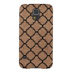 Black Quatrefoil on Rustic Burlap – Shabby Chic Galaxy S5 Cases