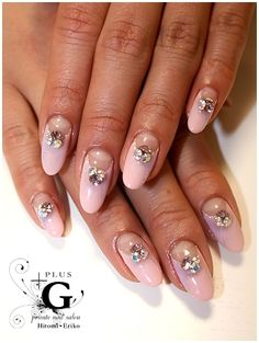 pink french tips w/ chunky rhinestones