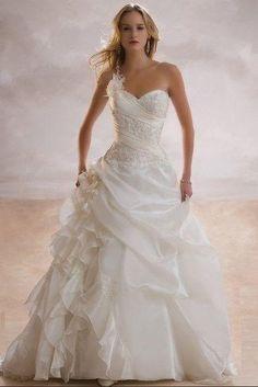 Wholesale New Ivory Wedding Dress A Line Sweetheart Floor length Beading Organza, $224   DHgate