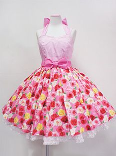 Angelic Pretty / Jumper Skirt / Dressy Rose JSK