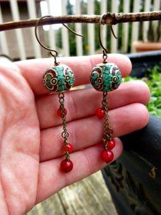 Red coral beads, turquoise inlaid bead. Dangle earrings  | mckeejewelrydesigns - andria mckee, McKee Jewelry,  McKee Jewelry Designs,   hand made jewelry, jewellery