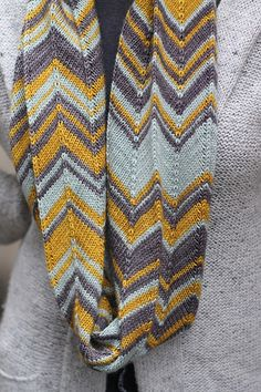 Camptown Races Cowl - Chevron Version by starathena. Love these colors and the chevron pattern, want to wear this all the time during spring!