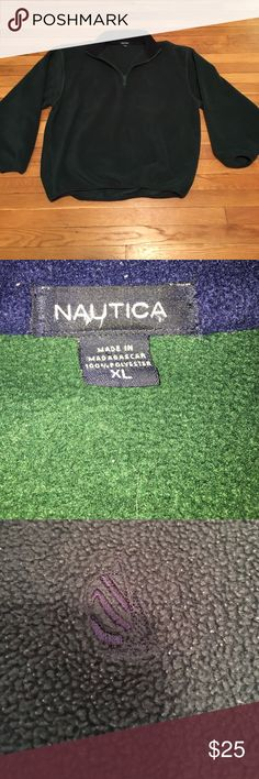 MEN'S NAUTICA FLEECE QUARTER-ZIP SWEATER Size: XL, green-colored Nautica fleece quarter-zip with navy blue on the inside of collar, navy blue lining the wrists and bottom of sweater, and navy blue retro logo on chest.  In awesome condition!  Serious offers no lowballing.  Tags: nautica, nautica competition, nautica sailing, nautica challenge, polo ralph lauren, tommy hilfiger, fleece, 1/4 zip, supreme, yeezy, vintage, retro Nautica Sweaters Zip Up
